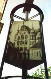 Old Rathaus depicted on street furniture